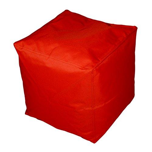 Kinzler S-10117/32 Sitzwürfel, ca. 40x40x40 cm, Outdoor & Indoor, Sitzsack in vielen verschiedenen Farben, wasserabweisender Hocker, rot