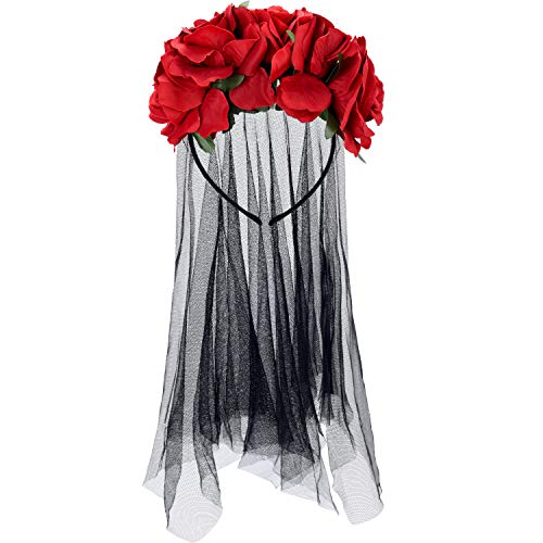 Kind Braut Tote Kostüm - Halloween Schleier Stirnband Tag der Toten Blumenkrone Mexikanisches Schleier Stirnband (Stil 4)