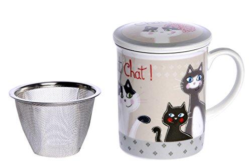 Fox trot 9039Ncha taza con infusor cerámica gato 10,5x 8,5x 12cm