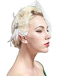 BABEYOND 1920s Flapper Feder Fascinator Schleier Damen Retro Haarspange Hochzeit Party Braut Fascinator Schleier Roaring 20er Elegant Haarschmuck Showgirl Haarclip Gatsby Stil Accessoires