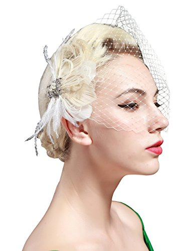 BABEYOND 1920s Flapper Feder Fascinator Schleier Damen Retro Haarspange Hochzeit Party Braut Fascinator Schleier Roaring 20er Elegant Haarschmuck Showgirl Haarclip Gatsby Stil Accessoires (Patent Alligator)