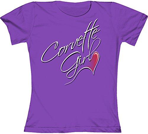 Joe Blow Damen Corvette Girl Fashion Jersey T-Shirt - Violett - Small -