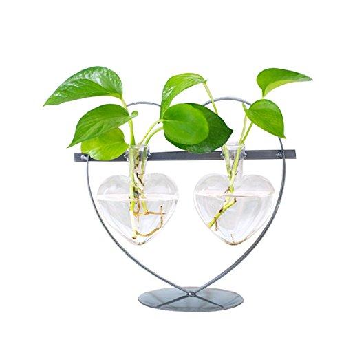 Moderner Knospe-Glasblumen-Vase mit hängendem Metallpotentiometer-Stand-Gestell, nettes Herz formte perfekte Geschenke für Hochzeits Lieben
