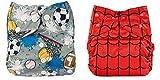 Babymoon (Set of 2) Cloth Diaper Designer Premium Reusable, Adjustable Size, Waterproof, Washable