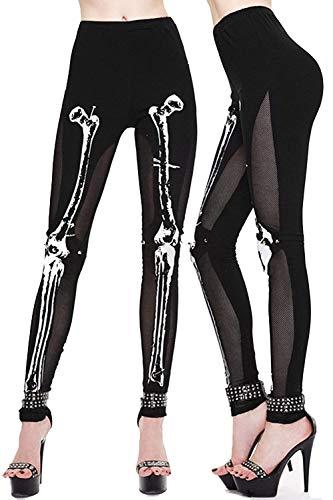 Rinalay Steampunk Hueso Patrón Malla Leggings Hueso Atléticas Patrón Elástico Medias Medias Vida de la Moda De Seda Pantalones Señoras (Color : Colour, Size : XL)