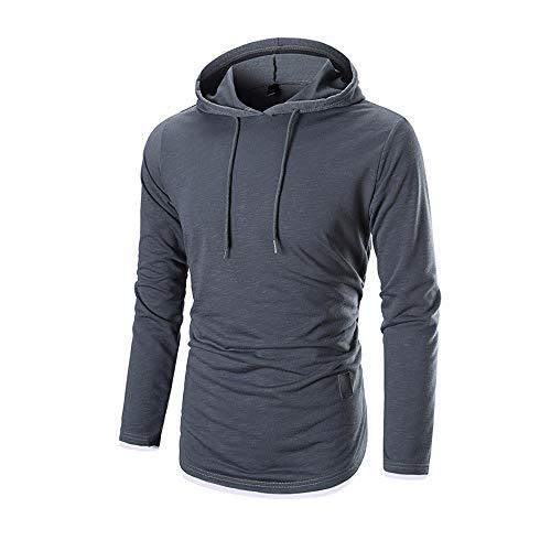 ESAILQ Herren Herbst Langarm-Kapuzenshirt Kapuzenpulli Top T-Shirt Outwear Bluse(XXX-Large,Dunkelgrau) (Bund Gefaltet)