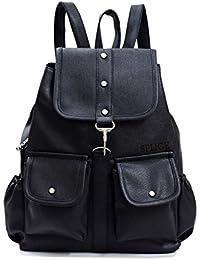 VIVARS PU Leather Backpack School Bag Student Backpack Women Travel bag 6 L  Backpack (Black 8397e6be14