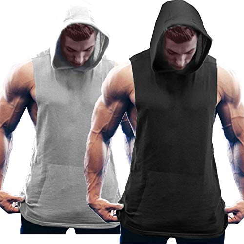 COOFANDY Herren Tank Top Kapuze Fitness Hoodie 2er Pack Quick Dry Gym Shirt Bodybuilding Ärmelloser t-Shirt