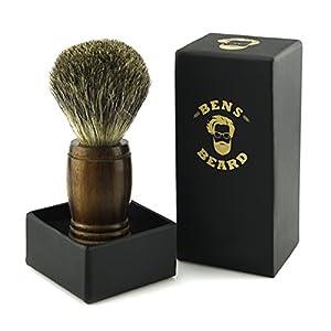BENS BEARD Rasierpinsel aus Dachshaar für die perfekte Rasur. Holzgriff aus hochwertigem Palisander Holz und in edler Geschenkverpackung. Echthaar – Dachshaar Rasierpinsel als ideales Geschenk