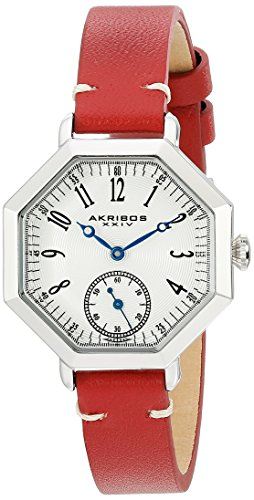 Akribos XXIV Women's AK771RD Quartz Movement Watch with Silver Dial and Burgundy Calfskin Leather Strap