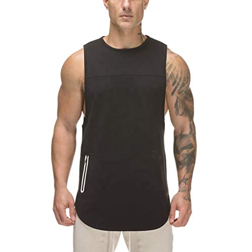 R-Cors Herren Tank Top Unterhemd mit Rundhals Männer Sleeveless Workout Muskel Bodybuilding Tanktops Shirts Fitness Übung Laufen Outfit Tops -