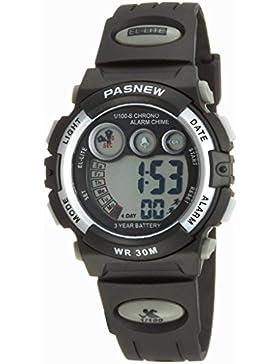 PASNEW Fashion LED wasserdichte Sport Digital Armbanduhr für Jugendliche Jungen Mädchen (Silber)