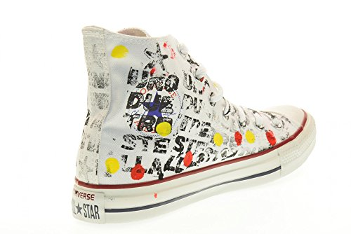 Converse, Unisex adulto, Chuck Taylor All Star High Canvas LTD White Black Writing Hand Paint, Tela, Sneakers Alte, Bianco Fantasia
