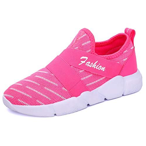iHENGH Scarpe da Donna Moda Casual Traspirante Slip On Sport Running Sneakers Walking(Rosa,37)