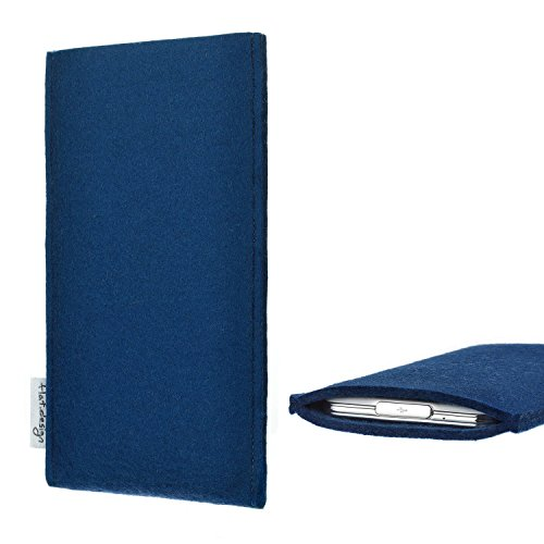 flat.design für Huawei P20 Pro Dual-SIM Handytasche Porto im Slim fit Design (blau) handgefertigte Smartphone-Tasche aus Filz für Huawei P20 Pro Dual-SIM Handy Schutz Hülle Made in Germany
