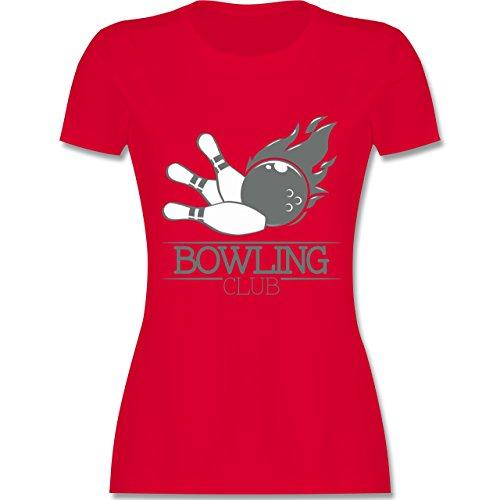 Bowling & Kegeln - Bowling Club Ball Flamme - tailliertes Premium T-Shirt mit Rundhalsausschnitt für Damen Rot