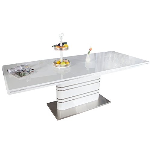 Ausziehbarer Design Esstisch ATLANTIS weiß Hochglanz 160-220cm Konferenztisch Tisch ausziehbar mit...