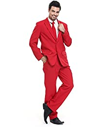 U LOOK UGLY TODAY Modisch Herren Party Anzug Weihnachten Kostüme Normaler Schnitt Festliche Anzüge Party Suits Einfarbig für Party mit Hose und Krawatte