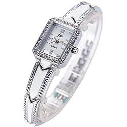 Lady Crystal Decoration Dial Fashion Band Quartz Wrist Watch-Silver