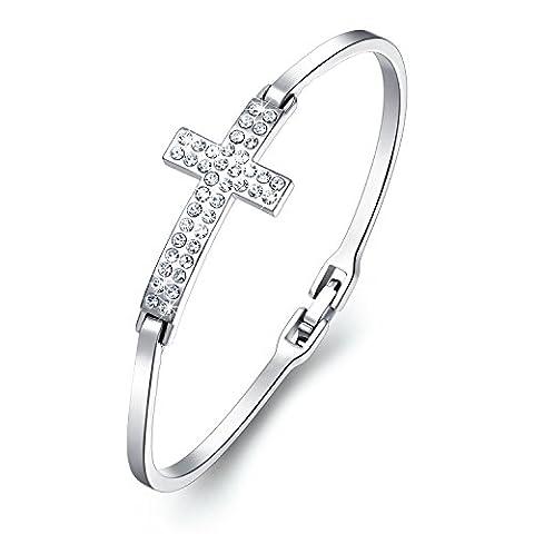 CAROLIER JEWELRY Kreuz Damen Armband mit Kristallen von Swarovski Geschenk für Liebe