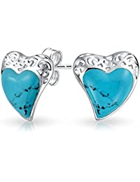 Bling Jewelry Filigree Simulated Turquoise December Birthstone Heart Stud earrings 925 Sterling Silver 19mm