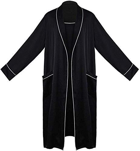 KFDQ Morgenmantel Damen Satin Nachthemd Dünne Nachthemd Sommer Bademantel-Langärmliges Startseite Nachtwäsche Weiches Material/Schwarz/M