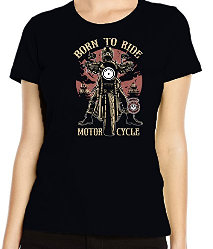 Renowned Ladies' Born To Ride T Shirt Schwarz