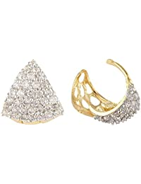 SKN Silver And Golden American Diamond Hoop Ear Clip Bali Earrings For Women & Girls (SKN-3320)