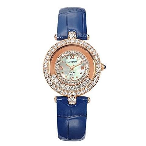 Longbo Damen Fashion Rose Gold Fall Analog Quarz Business Uhren blau Kroko Leder Band Kristall Strass akzentuierten Zifferblatt Armband Armbanduhr Big Face wasserdicht Kleid Uhr & Uhr für Lady