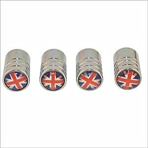 YM ELC diy britische Flagge Muster Universalreifenluftventilkappen - Silber (4 Stück) , Blue&Red