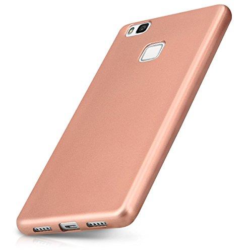 Kwmobile cover per huawei p9 lite - custodia in silicone tpu - back case protezione posteriore per cellulare oro rosa metallizzato
