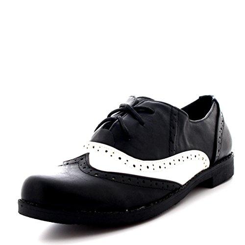 Femmes Broguess Cap D'aile Travail Cru Formel Designer Bureau Chaussures Plates Noir/Blanc