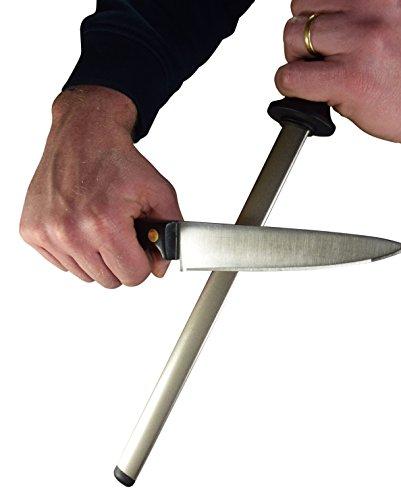 DinoK - Diamant 26cm Wetzstahl Oval - Professionelle Messerschärfer, Köche, die beste Wahl für die Küche und Honen Fleischermesser