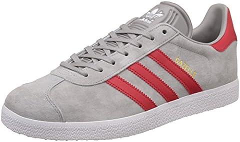 adidas Gazelle, Baskets Basses Mixte Adulte, Gris (Medium Grey Heather Solid Grey/scarlet/footwear White), 44 EU