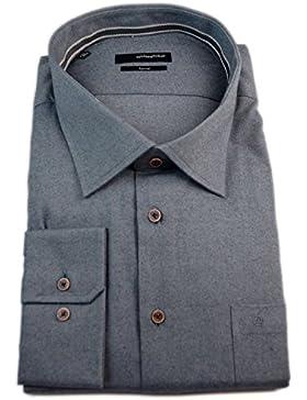 Seidensticker Herren Langarm Hemd Splendesto Regular Fit Flannel grau strukturiert mit Piping 388950.37