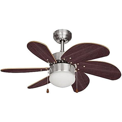 MiniSun - Moderno ventilador de techo con luz para frío y calor con 6 aspas de madera y cristal
