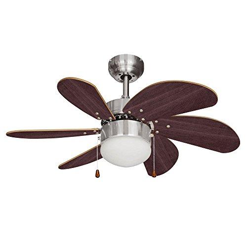 MiniSun - Ventilador de techo con luz, de diseño vintage, para frío y calor con 6 aspas de madera - faro de cristal satinado