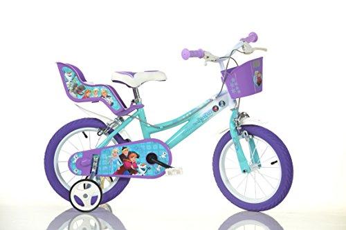 Frozen Kinderfahrrad Eiskönigin Mädchenfahrrad - 14 Zoll | TÜV geprüft | Original Disney Lizenz | Kinderrad mit Stützrädern, Puppensitz und Fahrradkorb - Das Anna und Elsa Fahrrad als Geschenk für Mädchen