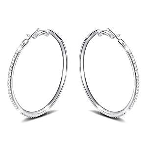 Déstockage-MARENJA Cristal-Boucles d'oreilles Creoles Femme-Plaqué Or Blanc-Cristal Autrichien Blanc