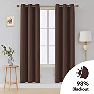 Deconovo Room Darkening Thermal Insulated Blackout Grommet Window Curtain Panel For Living Room 42