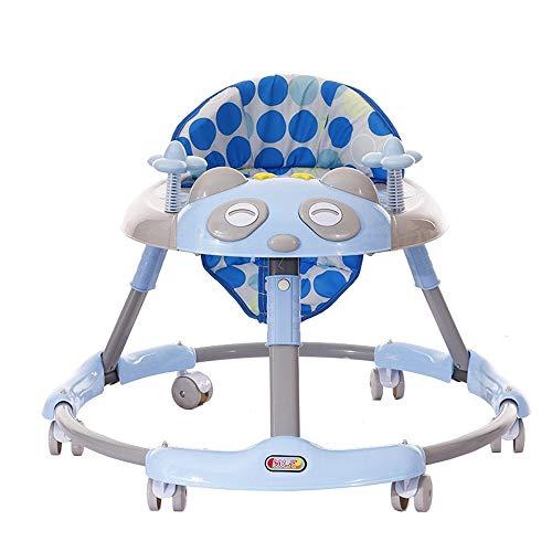 Btybess Baby-Wanderer Anti Prolongation Anti O-Bein Multifunktionale 6-18 Monate mit Musik Kinderwagen, Faltbare Aktivität Walker Helfer mit Einstellbarer Höhe (Color : Blau)