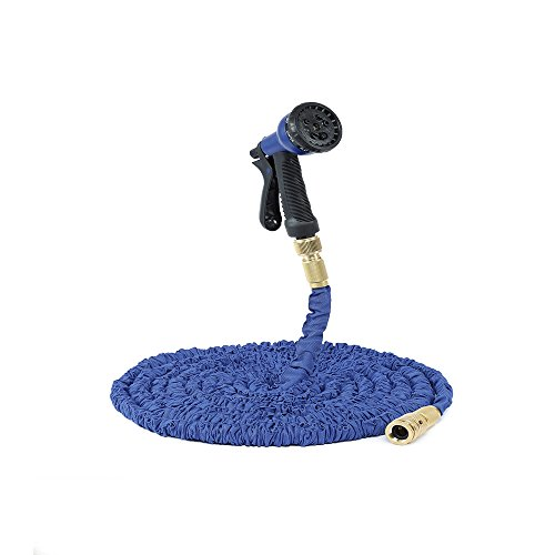50FT Expandable Flexible Garden Hose Pipe Aluminium Fittings with 8 FUNCTION SPRAY GUN,Blue Test