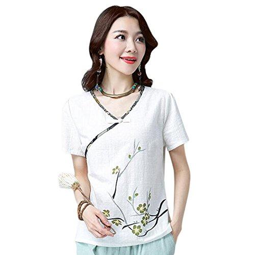Zhuhaixmy Frauen Chinesischer Stil Retro Printing Baumwolle Leinen Blusen Sommer V-Ausschnitt T-Hemd Weiß