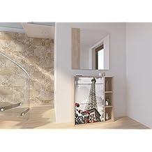Recibidor zapatero con espejo varios compartimentos serigrafia Torre Eiffel 100x90cm