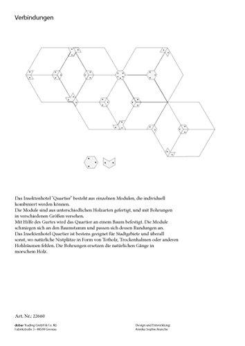 """Luxus-Insektenhotels 22660e Design-Insektenhotel """"Quartier"""" 5 Module: Beton, Eiche, Esche, 2x Buche, Insektenhaus für Wildbienen, Maße je Block, circa 15.5 x 8.5 x 7.5 cm, braun und grau - 13"""