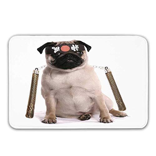 LIS HOME Pug rutschfeste Fußmatte, Ninja Puppy mit Nunchuk Karate Dog Eastern Warrior inspiriert Kostüm Mops Bild dekorative Fußmatte für Haustür Indoor - Mop Dog Kostüm