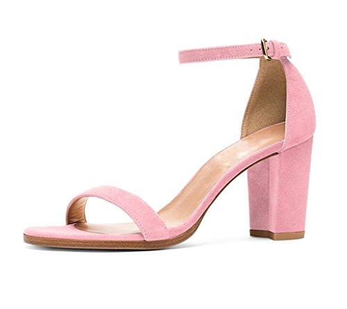 EDEFS Damen Knöchelriemchen Blockabsatz Sandalen Peep Toe Frühjahr Sommer High Heel Schuhe Pink