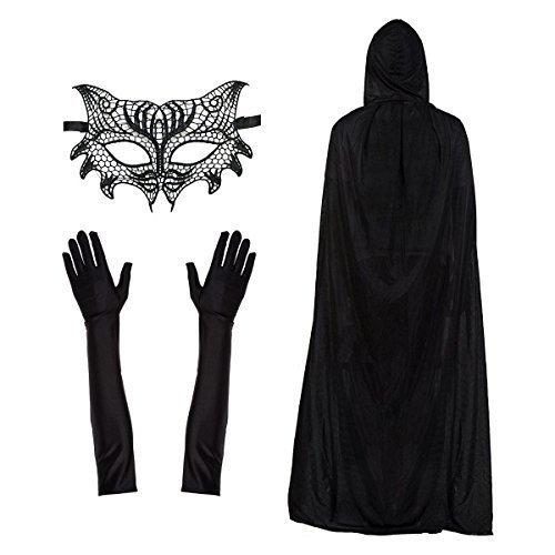 Damen Spitze Cat Damen Maske, Umhang & Ellbogen Länge Handschuhe Modisches Kostüm-set