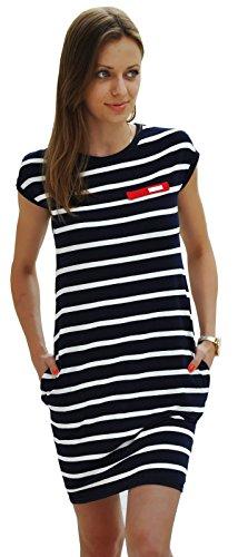 Sommer SeXy Tunika mit Streifen Minikleid Top Blogger Style S-XL 36-42 (340) (M, Mit Blau Streifen) (Weiß Marine-blau Und Kleid Frauen)