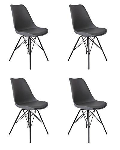 SAM 4er Set Schalenstuhl Lerche, grau, integriertes Kunstleder-Sitzkissen, Schwarze Metall